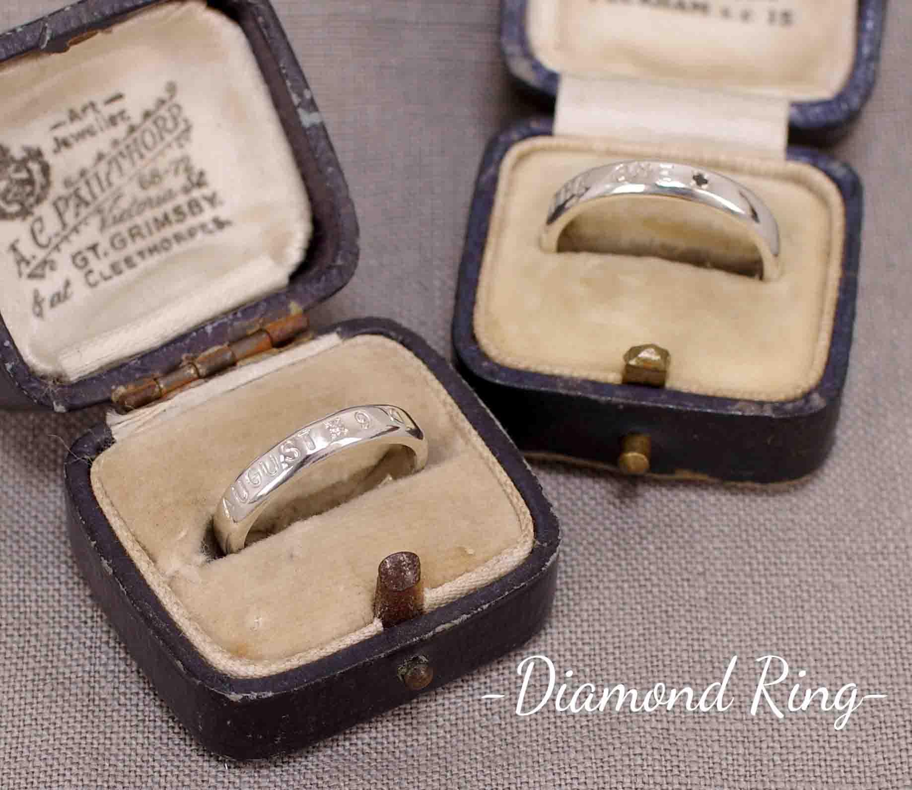 ダイヤモンドを留めたシルバーリング